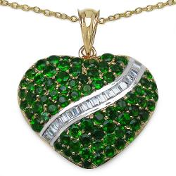 Malaika Gold over Silver 4 7/8ct TGW Chrome Diopside and CZ Heart Necklace