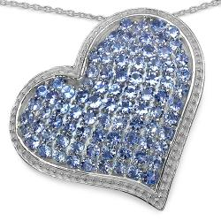 Malaika Sterling Silver 2 1/2ct TGW Tanzanite Heart Necklace