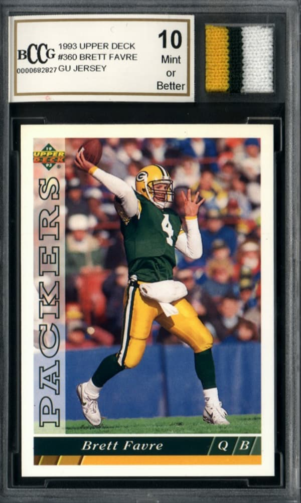 Brett Favre Game Used Jersey Mint 10 GGUM Card