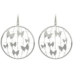 CGC Sterling Silver Laser-cut Round Butterfly Earrings