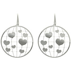 CGC Sterling Silver Heart Laser-cut Round Earrings