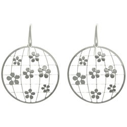 CGC Sterling Silver Laser-cut Round Flower Earrings