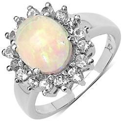 Malaika Sterling Silver 2 1/10ct TGW Ethiopian Opal and White Topaz Ring