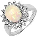 Malaika Sterling Silver 2 1/10ct TGW Ethiopian Opal and White Topaz Ring