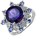 Malaika Sterling Silver 3 7/8ct TGW Amethyst and Tanzanite Ring