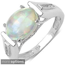 Malaika 14k Gold Overlay or Silver Gemstone and White Topaz Ring