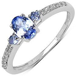 Malaika Sterling Silver 3/5ct TGW Tanzanite and White Topaz Ring