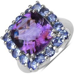 Malaika Sterling Silver 6 4/5ct TGW Amethyst and Tanzanite Ring
