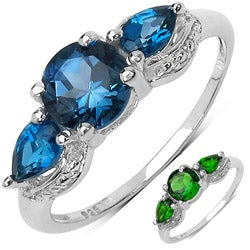 Malaika Sterling Silver 2 7/8ct TGW Blue Topaz or Chrome Diopside Ring