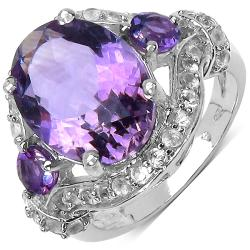 Malaika Sterling Silver 7 1/5ct TGW Amethyst and White Topaz Ring