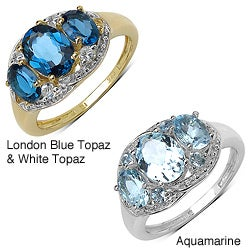 Malaika Gold/ Silver Blue Topaz/ White Topaz or Aquamarine Ring