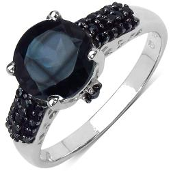 Malaika Sterling Silver 3 1/3ct TGW Blue Topaz and Black Spinel Ring