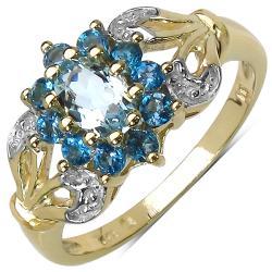 Malaika Gold over Silver 7/8ct TGW Aquamarine and Blue Topaz Ring