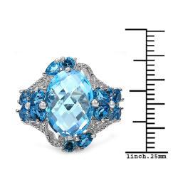 Malaika Sterling Silver 9 7/8ct TGW Blue Topaz Ring