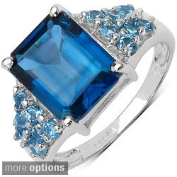 Malaika Sterling Silver Blue Topaz or Smokey Quartz/ White Topaz Ring