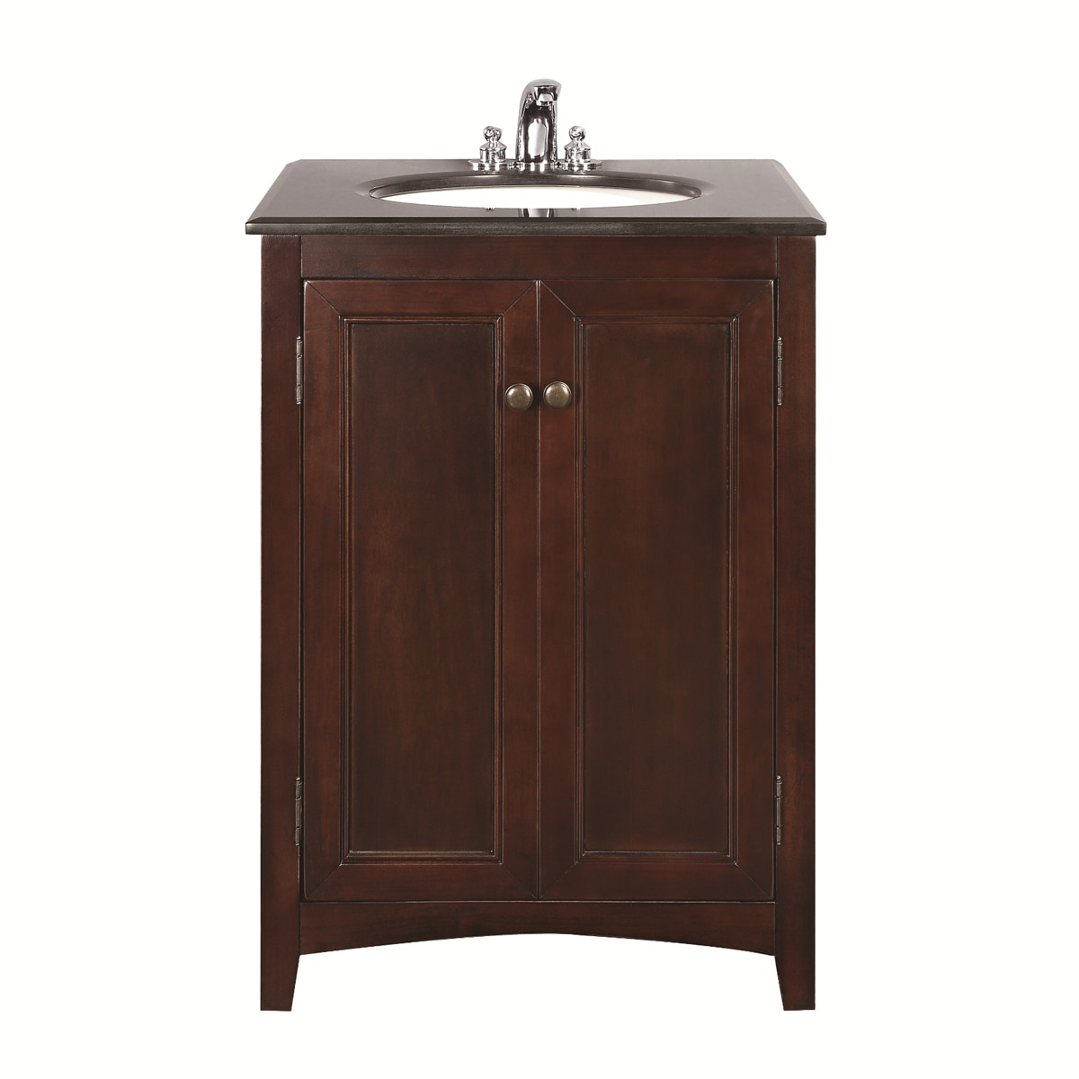 walnut brown 24 inch bath vanity with 2 doors and black granite top