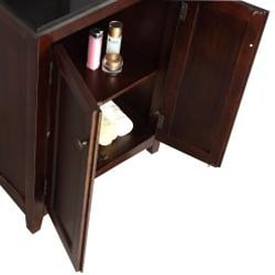 Windsor Walnut Brown 24-inch Bath Vanity with 2 Doors and Black Granite Top