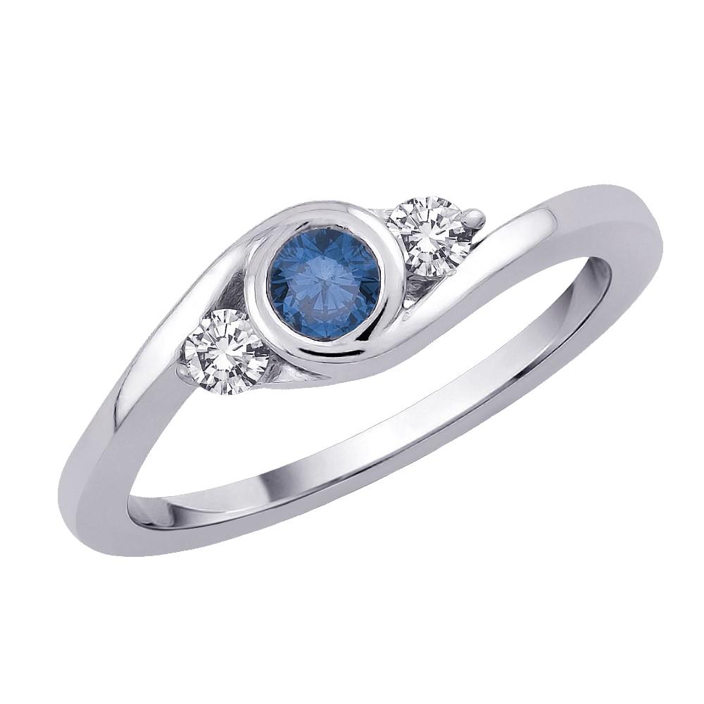 14k White Gold 1/3ct TDW Blue and White Diamond Ring (GH - I1) (Size 7)
