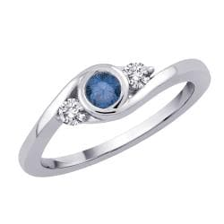 14k White Gold 1/3ct TDW Blue and White Diamond Ring (GH - I1) (Size 7)