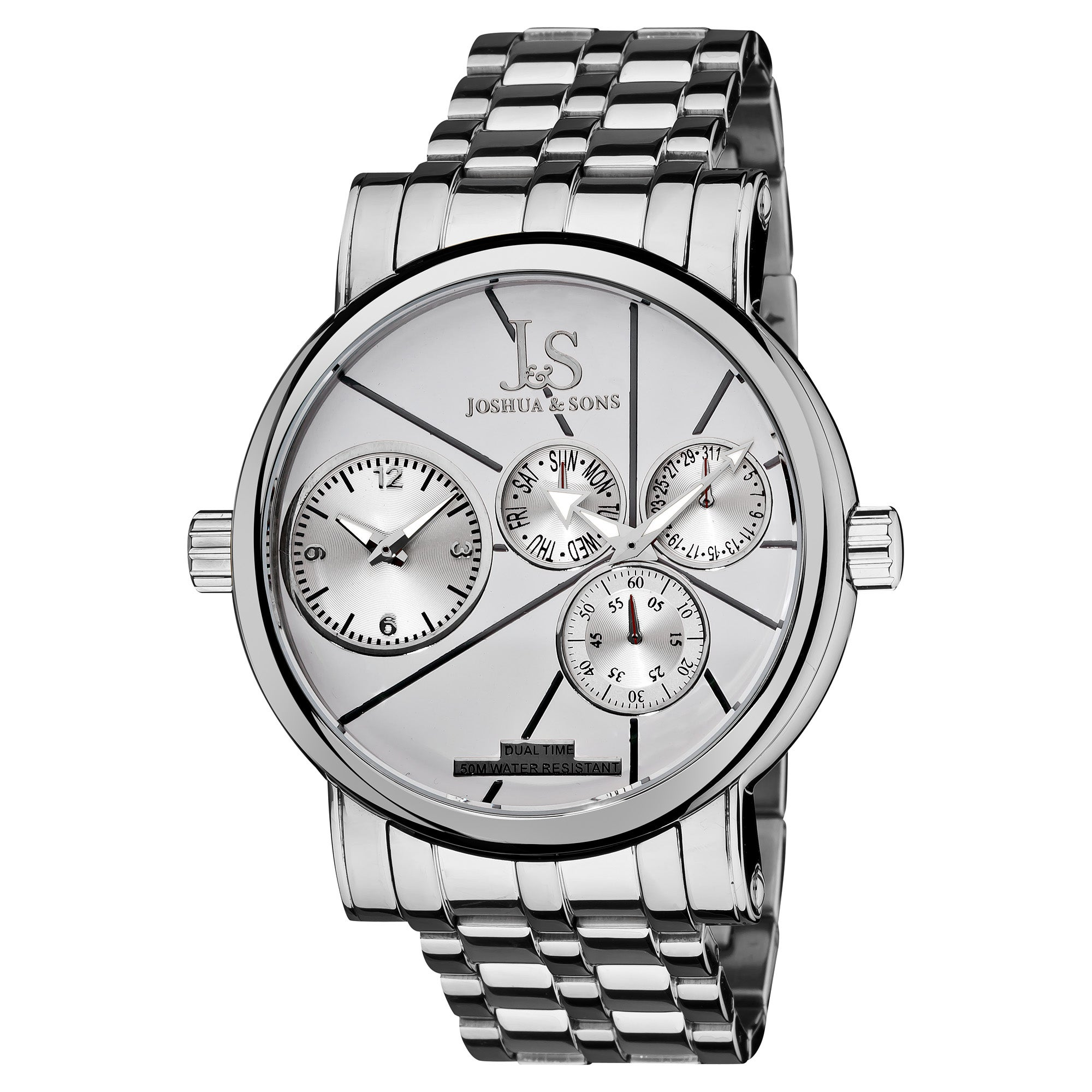 Joshua & Sons Men's Dual-time Stainless Steel Quartz Watch