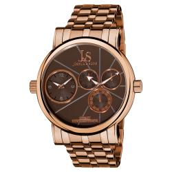Joshua & Sons Men's Dual-Time Stainless-Steel Rose-Tone Watch