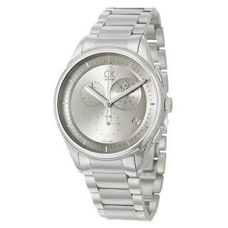 Calvin Klein Men's 'Basic' Stainless-Steel-and-Leather Watch