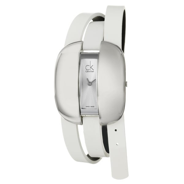 Calvin Klein Women's 'Treasure' Stainless-Steel Watch with White Strap