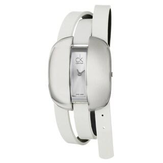 Calvin Klein Women's 'Treasure' Stainless-Steel Watch with White Strap