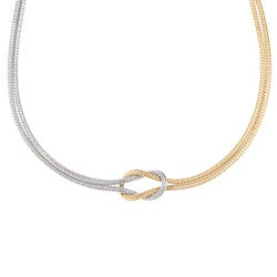 La Preciosa Two-tone Sterling Silver Love Knot Necklace