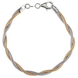 La Preciosa Two-tone Sterling Silver Twisted Double Strand Bracelet