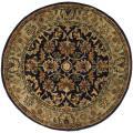 Safavieh Handmade Classic Kerman Navy/ Beige Wool Rug (6' Round)
