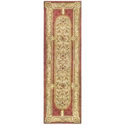 Safavieh Handmade Classic Burgundy/ Beige Wool Runner (2'3 x 10')