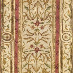 Handmade Classic Burgundy/ Beige Wool Runner (2'3 x 12')