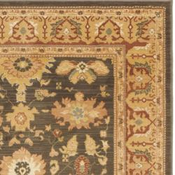 Oushak Brown/ Rust Powerloomed Rug (9'6 x 13')