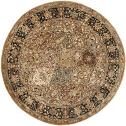 Handmade Persian Legend Multi/ Black Wool Rug (3'6 Round)