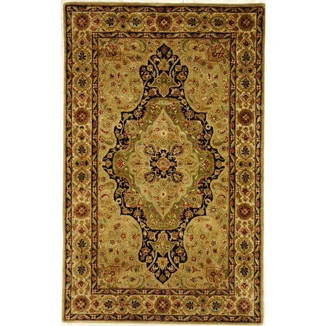 Safavieh Handmade Persian Legend Soft Green/ Ivory Wool Rug (5' x 8')