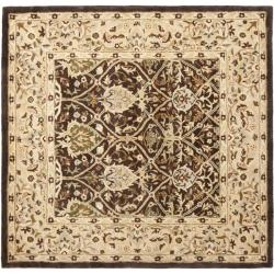 Handmade Persian Legend Brown/ Beige Wool Rug (6' Square)