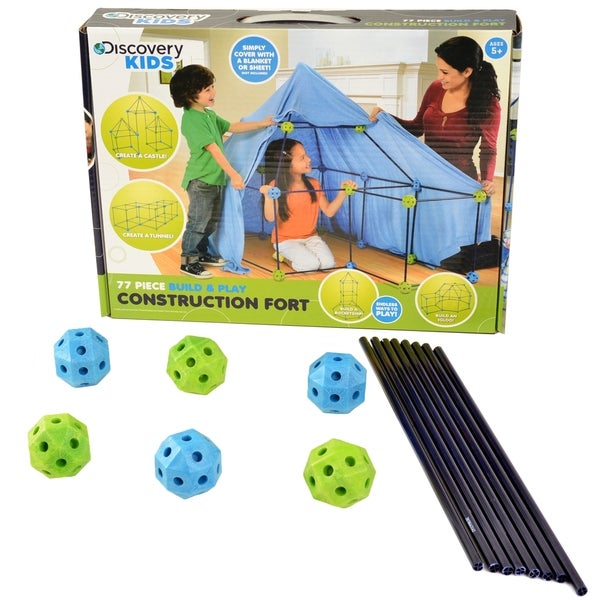 Discovery Kids 77-piece Build and Play Construction Fort Set (As Is Item)
