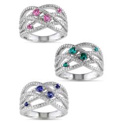 Miadora Sterling Silver Created Gemstone Fashion Ring