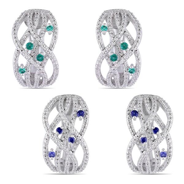 Miadora Sterling Silver Created Gemstone endless Earrings