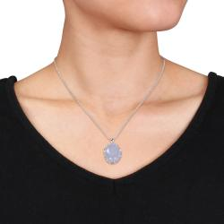 Miadora Rhodium Plated Silver Gemstone and Diamond Accent Necklace (H-I, I2-I3)