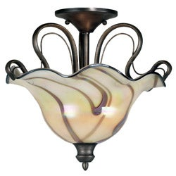 Shamash 16-inch Tuscan Silver 2-light Semi-Flush