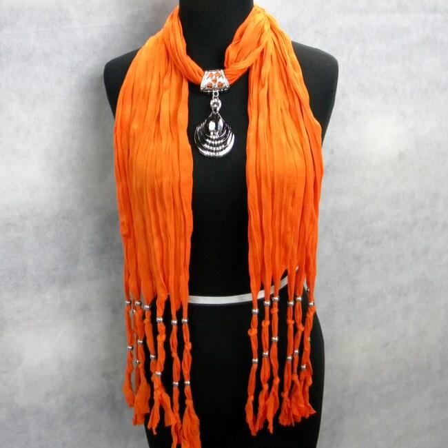 Fashion Smoky Quartz Jewelry Orange Scarf