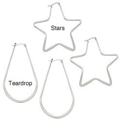 La Preciosa Stainless Steel Outline Hoop Earrings