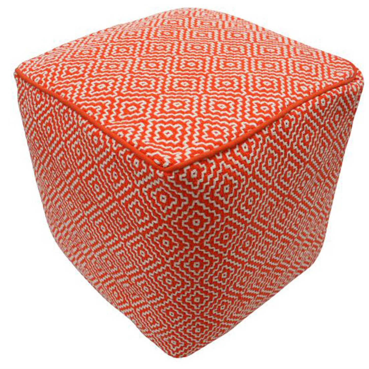 nuLOOM Handmade Casual Living Indian Diamond Orange Cube Pouf