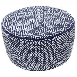nuLOOM Handmade Casual Living Indian Diamond Navy Round Pouf