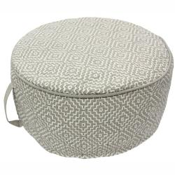 nuLOOM Handmade Casual Living Indian Diamond Taupe Round Pouf