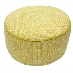 nuLOOM Handmade Casual Living Indian Diamond Yellow Round Pouf