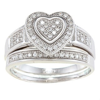 La Preciosa Sterling Silver Cubic Zirconia Heart Ring Set