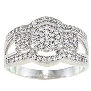 La Preciosa Sterling Silver Cubic Zirconia Triple Circle Ring